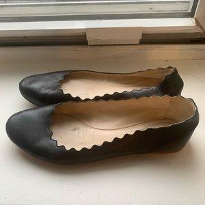 Chloé black leather flats size 38.5